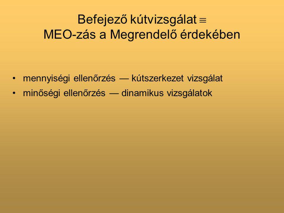 Befejező kútvizsgálat  MEO-zás a Megrendelő érdekében