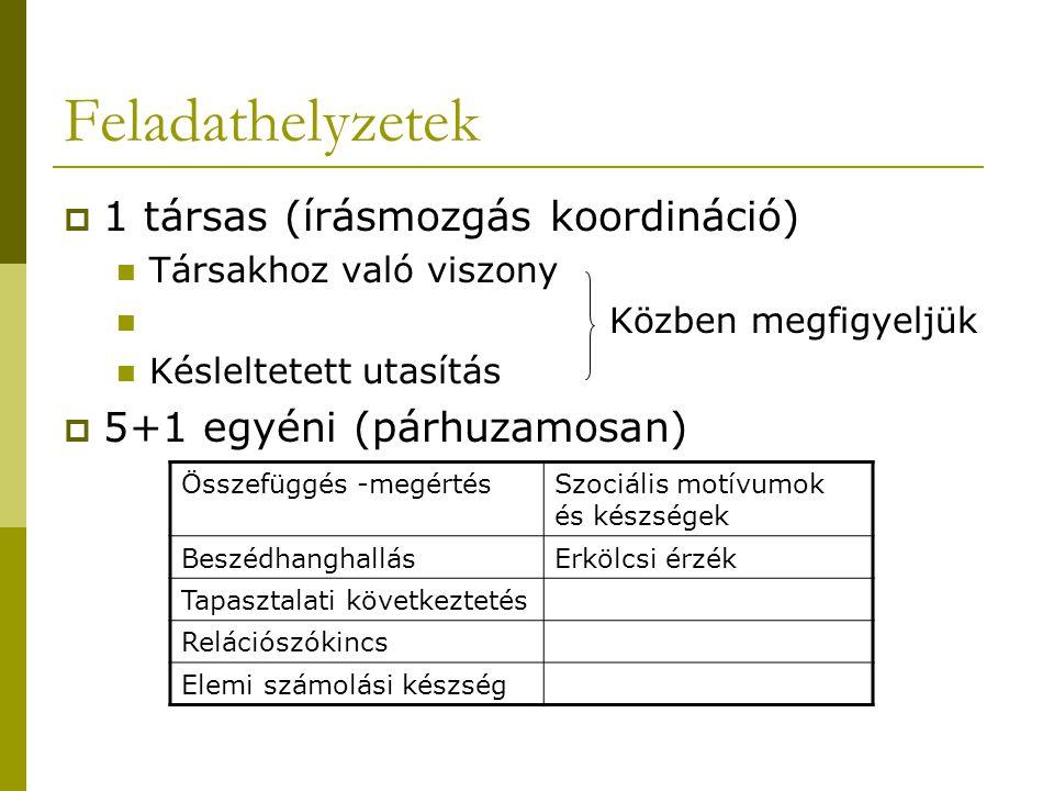 Feladathelyzetek 1 társas (írásmozgás koordináció)