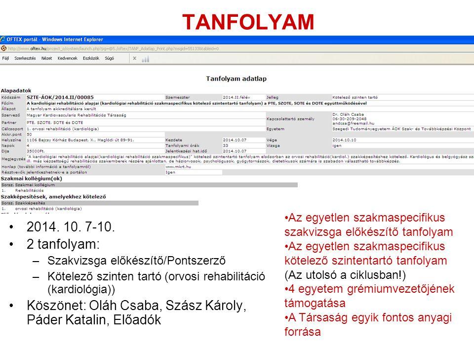 TANFOLYAM 2014. 10. 7-10. 2 tanfolyam: