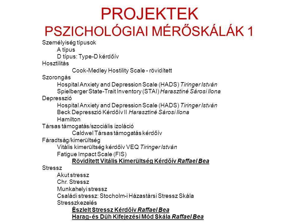 PROJEKTEK PSZICHOLÓGIAI MÉRŐSKÁLÁK 1