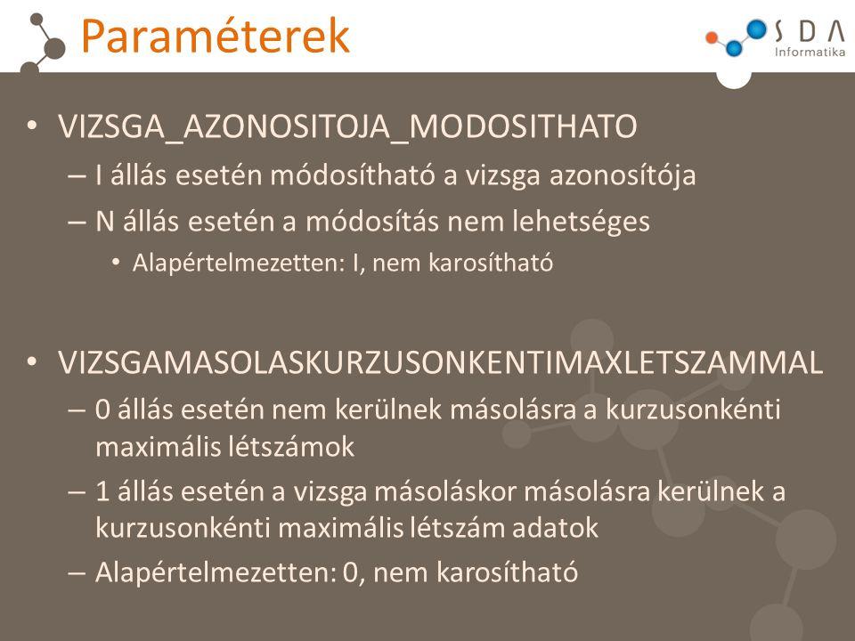 Paraméterek VIZSGA_AZONOSITOJA_MODOSITHATO