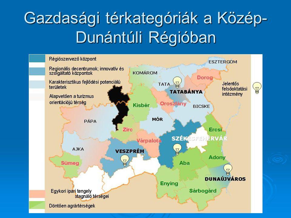 Gazdasági térkategóriák a Közép-Dunántúli Régióban