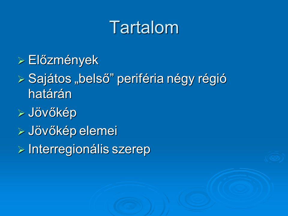 """Tartalom Előzmények Sajátos """"belső periféria négy régió határán"""