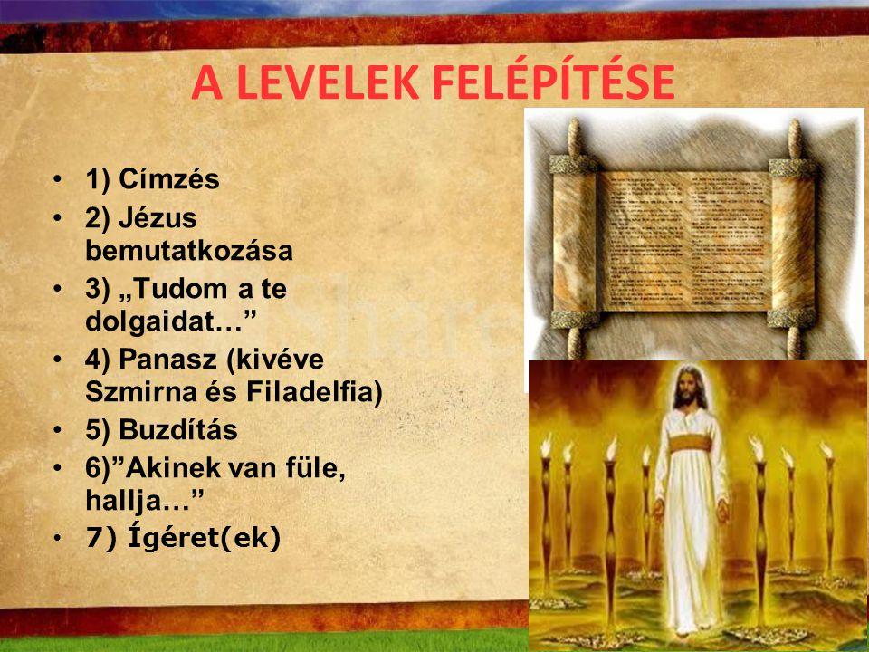 A LEVELEK FELÉPÍTÉSE 1) Címzés 2) Jézus bemutatkozása