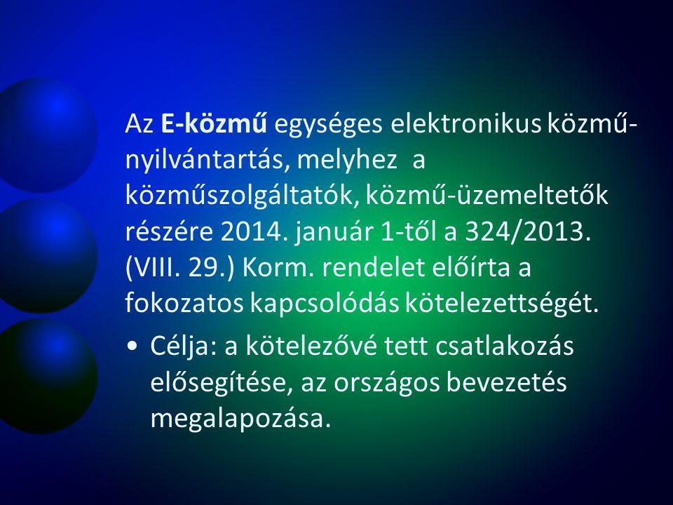 Az E-közmű egységes elektronikus közmű-nyilvántartás, melyhez a közműszolgáltatók, közmű-üzemeltetők részére 2014. január 1-től a 324/2013. (VIII. 29.) Korm. rendelet előírta a fokozatos kapcsolódás kötelezettségét.