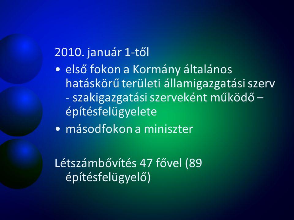 2010. január 1-től első fokon a Kormány általános hatáskörű területi államigazgatási szerv - szakigazgatási szerveként működő – építésfelügyelete.