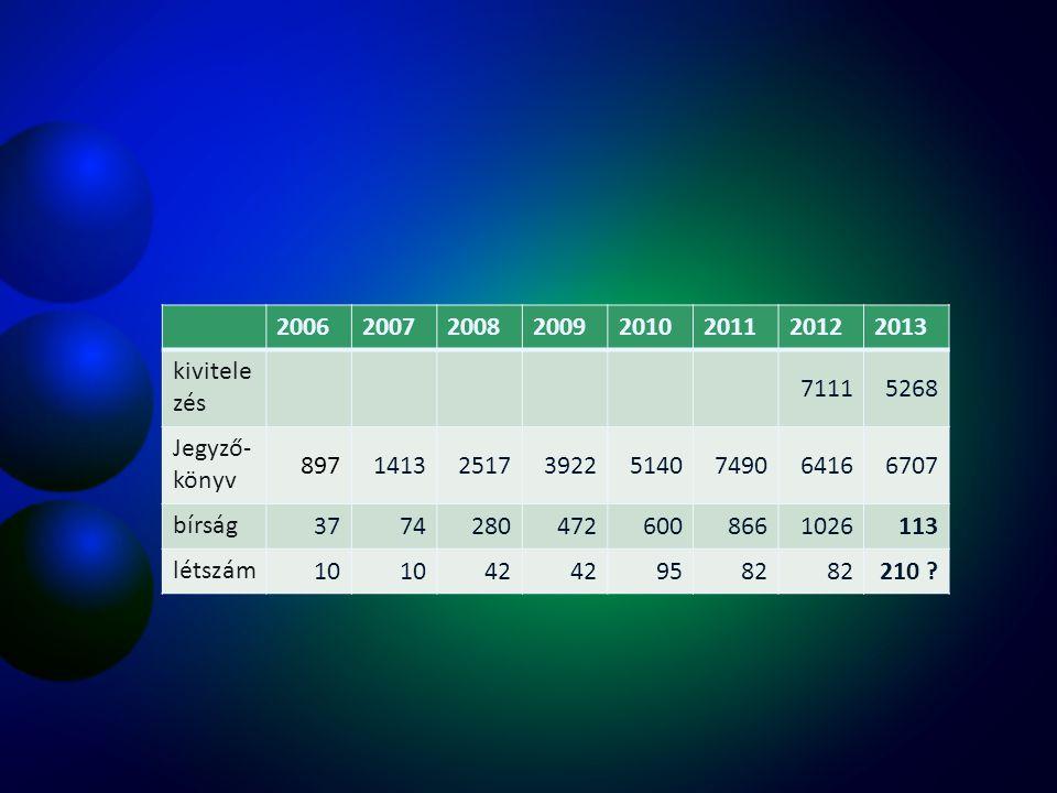 2006 2007. 2008. 2009. 2010. 2011. 2012. 2013. kivitelezés. 7111. 5268. Jegyző-könyv. 897.