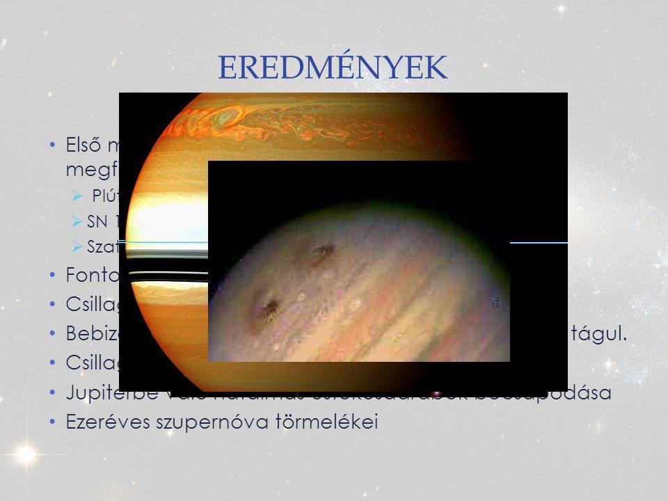 Eredmények Első másfél év: 900 csillagászati célpontról 1900 megfigyelés született. Plútó/Charon rendszer felbontása.
