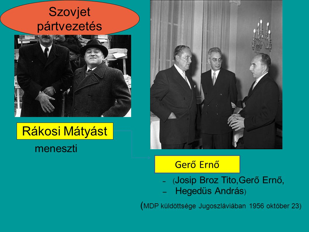 Szovjet pártvezetés Rákosi Mátyást Rákosi-rendszer meneszti Gerő Ernő