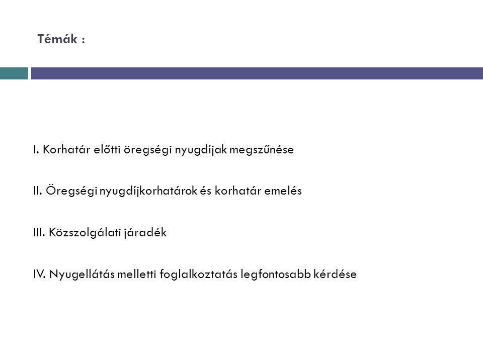 Témák : I. Korhatár előtti öregségi nyugdíjak megszűnése