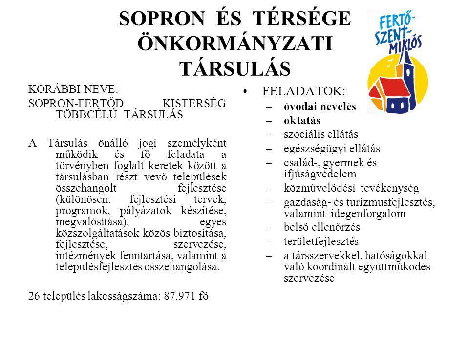 SOPRON ÉS TÉRSÉGE ÖNKORMÁNYZATI TÁRSULÁS