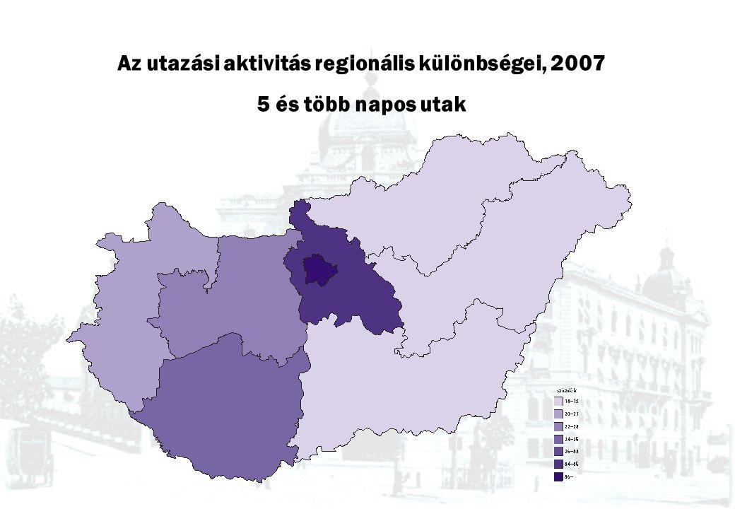 Az utazási aktivitás regionális különbségei, 2007