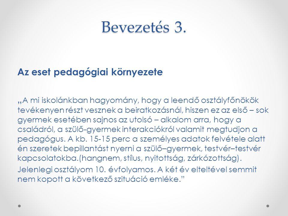 Bevezetés 3. Az eset pedagógiai környezete