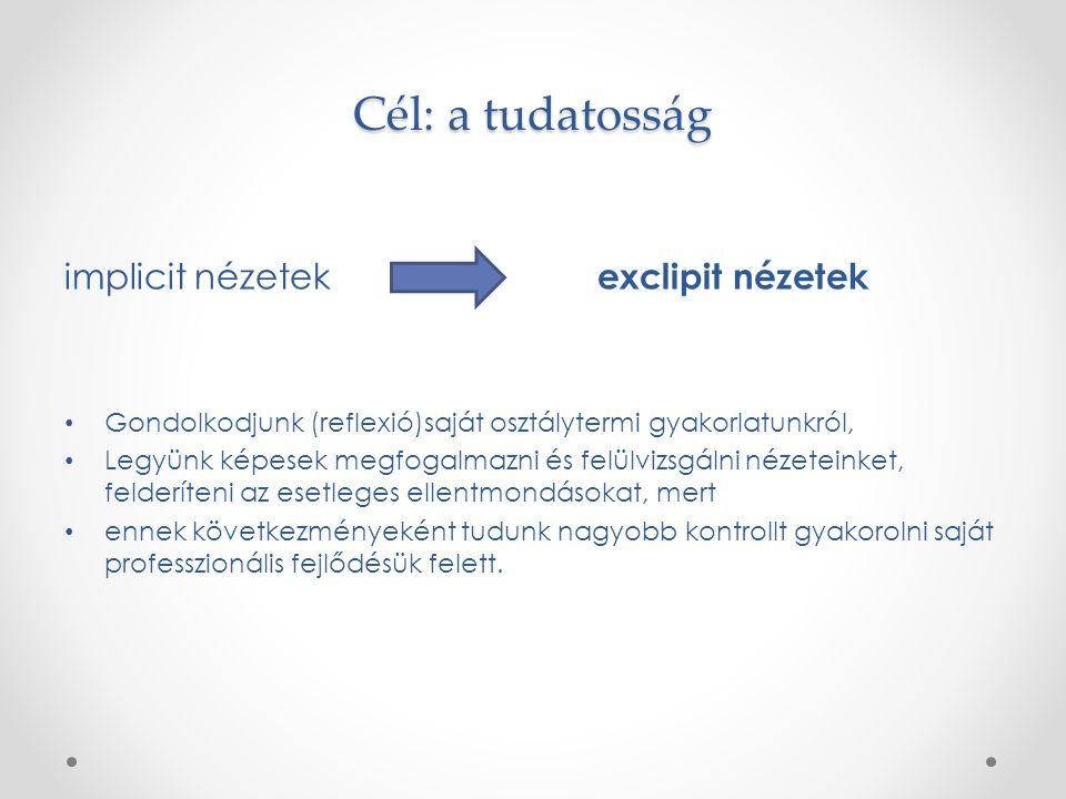Cél: a tudatosság implicit nézetek exclipit nézetek