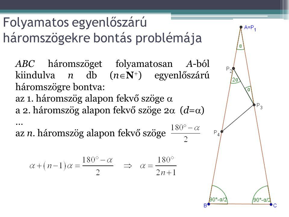 Folyamatos egyenlőszárú háromszögekre bontás problémája