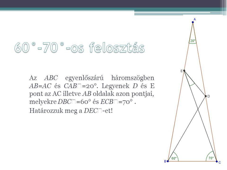60°-70°-os felosztás