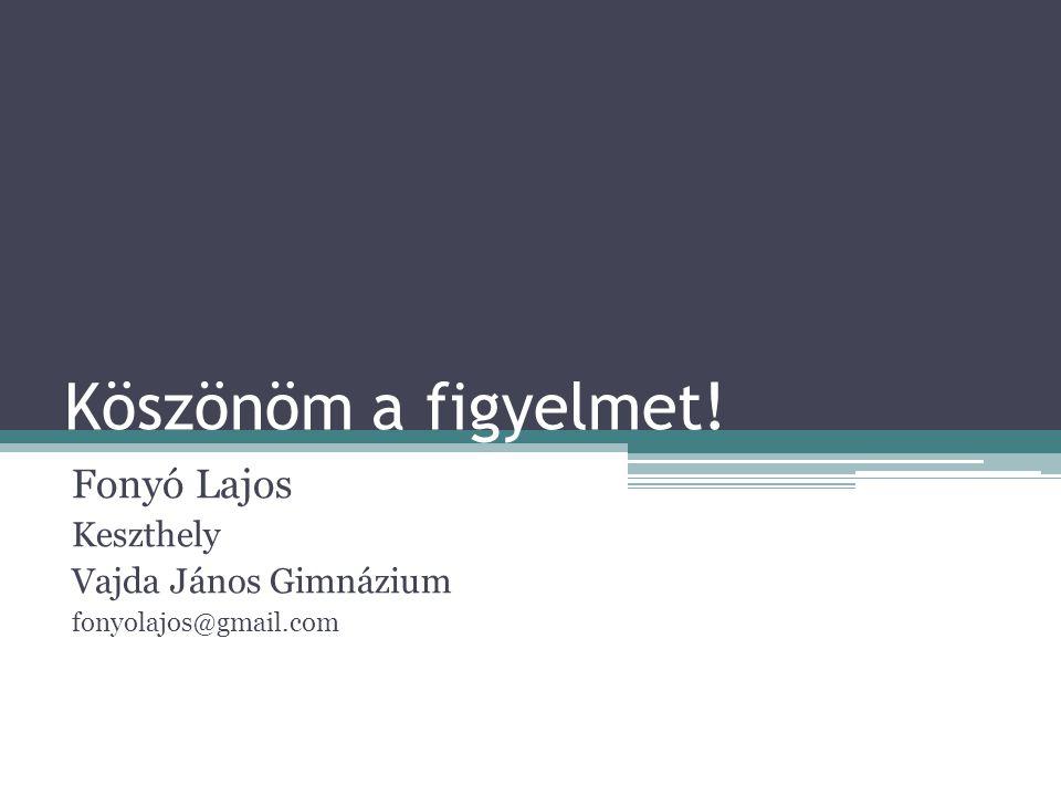 Fonyó Lajos Keszthely Vajda János Gimnázium fonyolajos@gmail.com