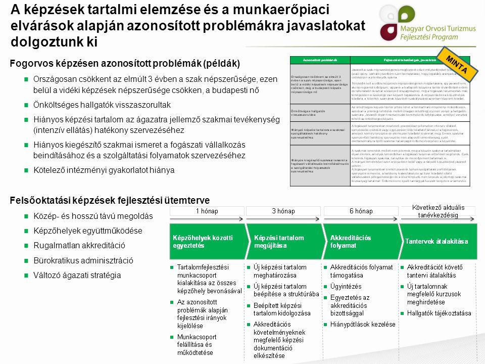 A képzések tartalmi elemzése és a munkaerőpiaci elvárások alapján azonosított problémákra javaslatokat dolgoztunk ki