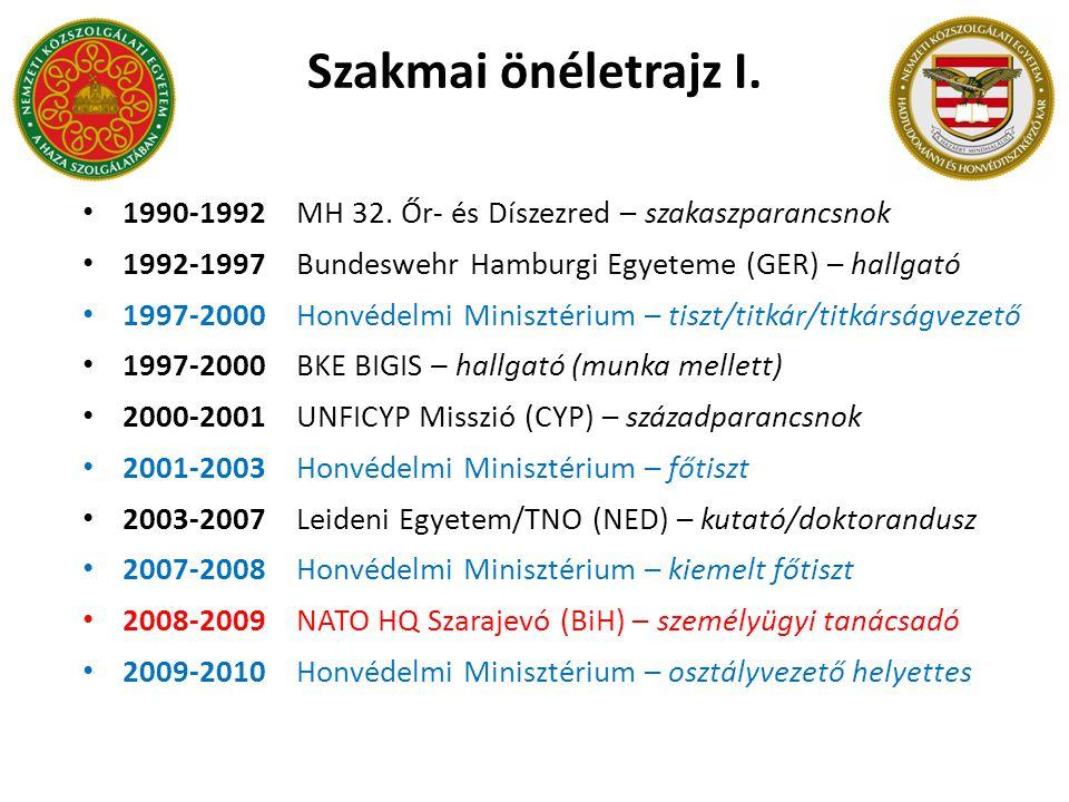 Szakmai önéletrajz I. 1990-1992 MH 32. Őr- és Díszezred – szakaszparancsnok. 1992-1997 Bundeswehr Hamburgi Egyeteme (GER) – hallgató.