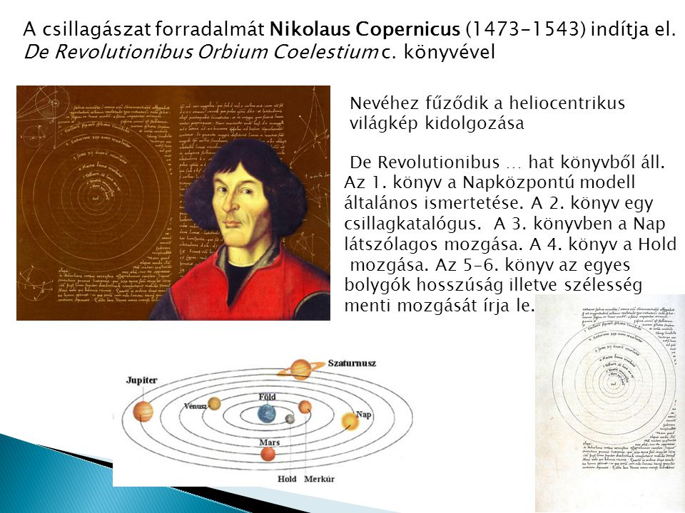 A csillagászat forradalmát Nikolaus Copernicus (1473-1543) indítja el.