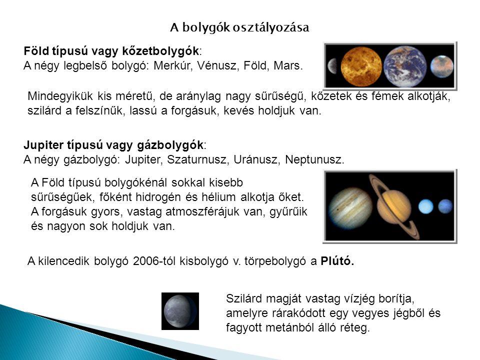 A bolygók osztályozása