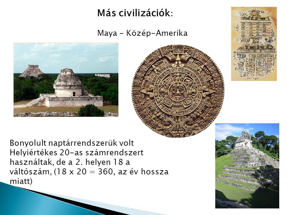 Más civilizációk: Maya – Közép-Amerika Bonyolult naptárrendszerük volt