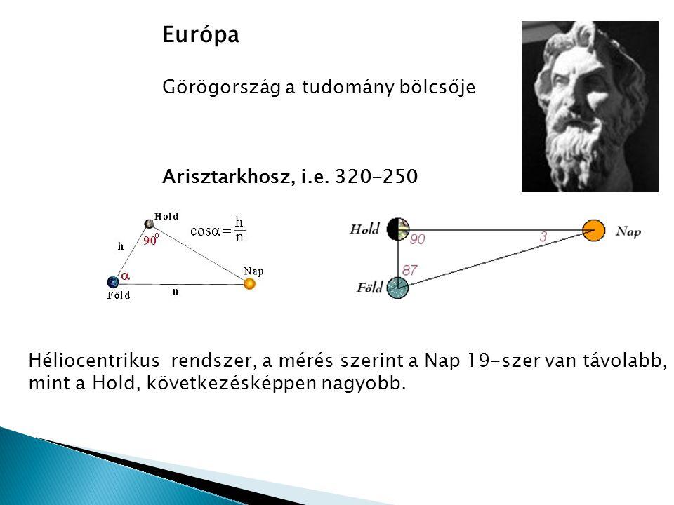 Európa Görögország a tudomány bölcsője Arisztarkhosz, i.e. 320-250