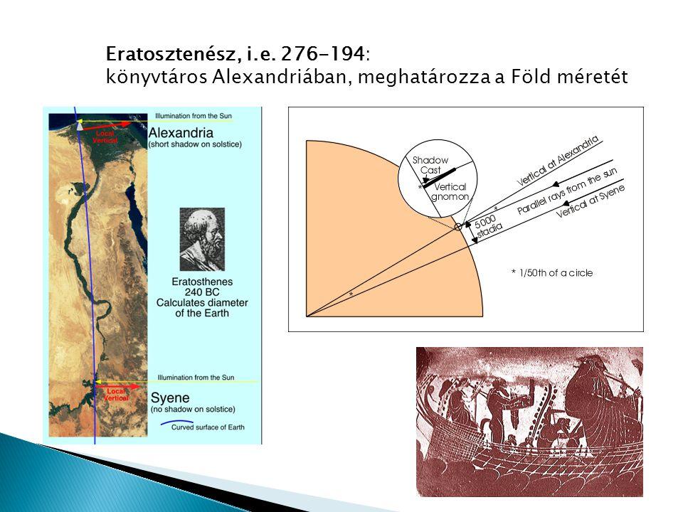 Eratosztenész, i.e. 276-194: könyvtáros Alexandriában, meghatározza a Föld méretét