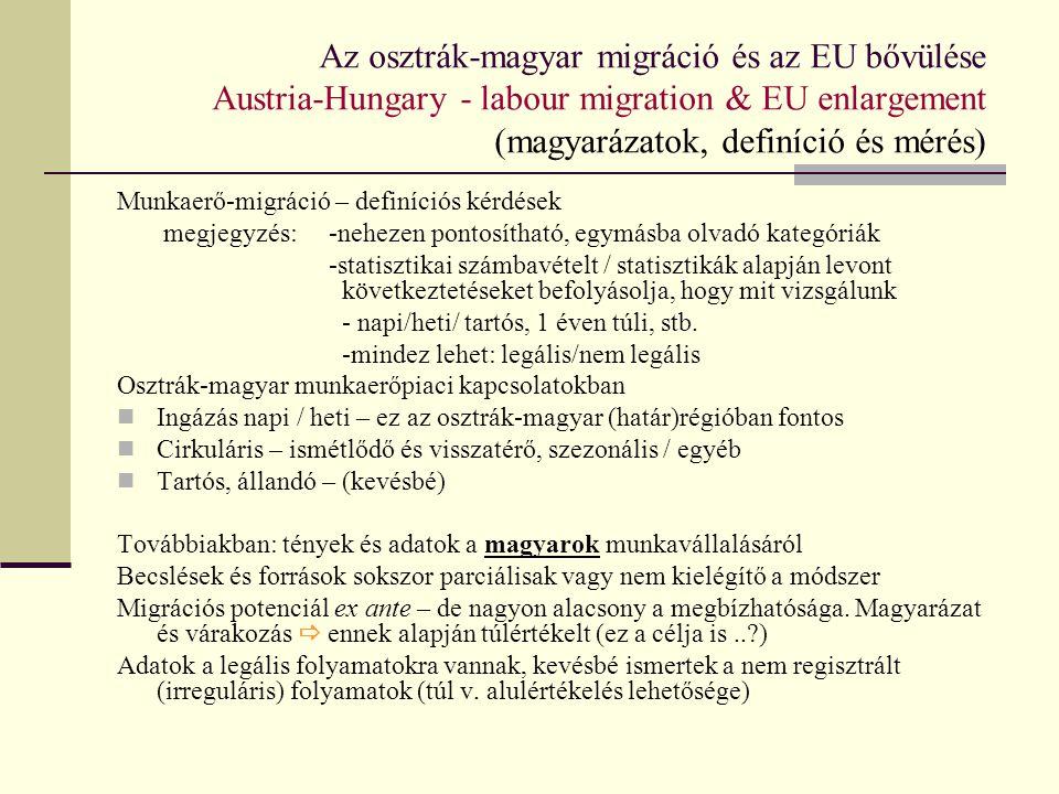 Az osztrák-magyar migráció és az EU bővülése Austria-Hungary - labour migration & EU enlargement (magyarázatok, definíció és mérés)