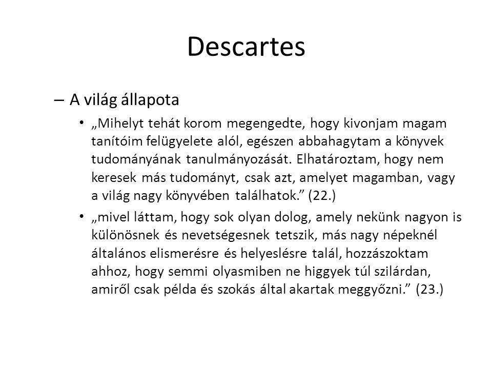 Descartes A világ állapota