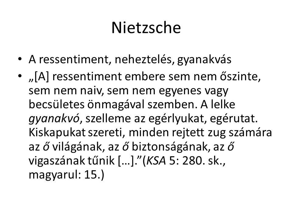 Nietzsche A ressentiment, neheztelés, gyanakvás