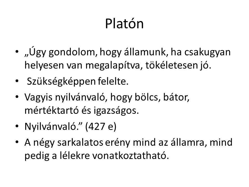 """Platón """"Úgy gondolom, hogy államunk, ha csakugyan helyesen van megalapítva, tökéletesen jó. Szükségképpen felelte."""