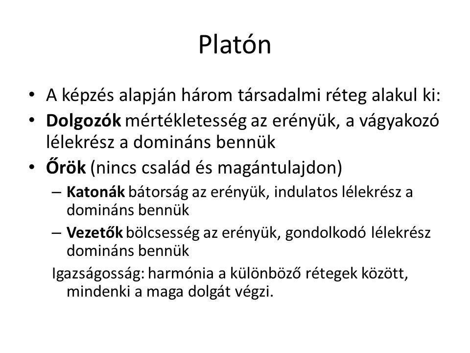 Platón A képzés alapján három társadalmi réteg alakul ki: