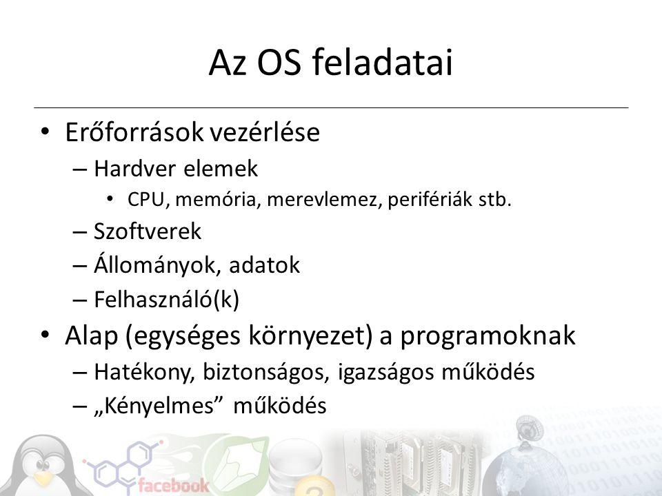 Az OS feladatai Erőforrások vezérlése