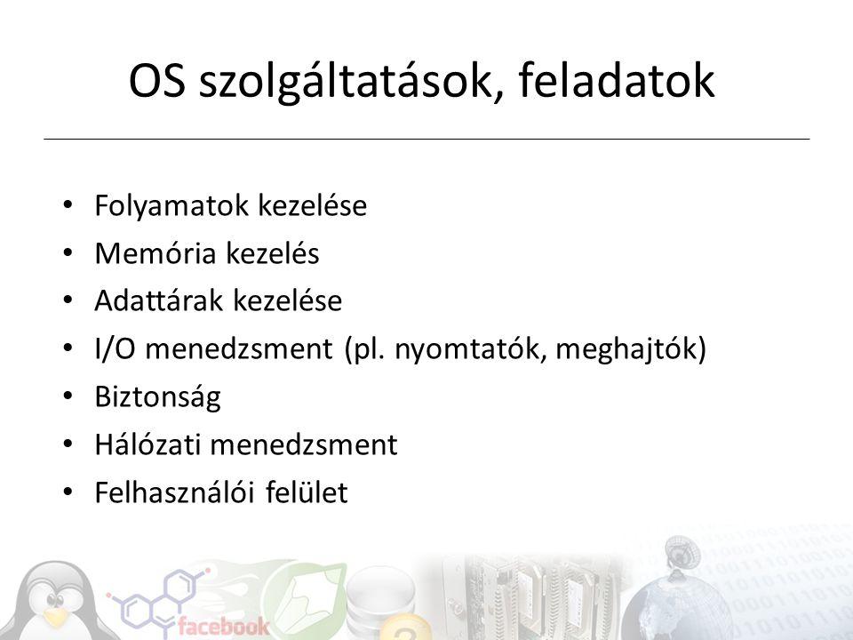 OS szolgáltatások, feladatok