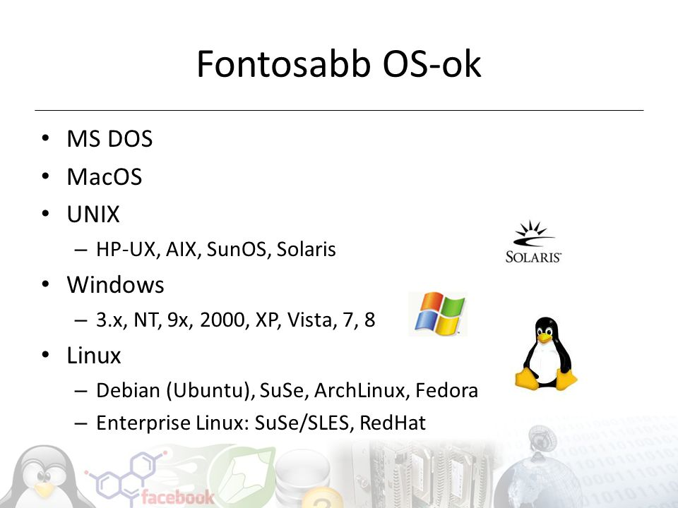 Fontosabb OS-ok MS DOS MacOS UNIX Windows Linux