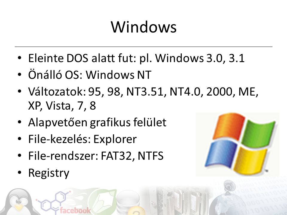 Windows Eleinte DOS alatt fut: pl. Windows 3.0, 3.1