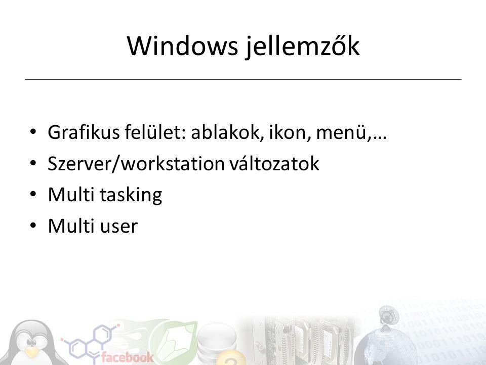 Windows jellemzők Grafikus felület: ablakok, ikon, menü,…