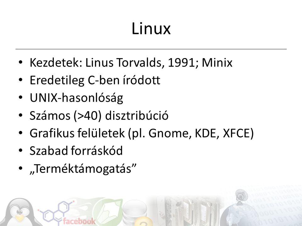 Linux Kezdetek: Linus Torvalds, 1991; Minix Eredetileg C-ben íródott
