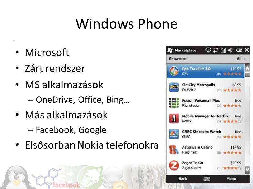 Windows Phone Microsoft Zárt rendszer MS alkalmazások Más alkalmazások