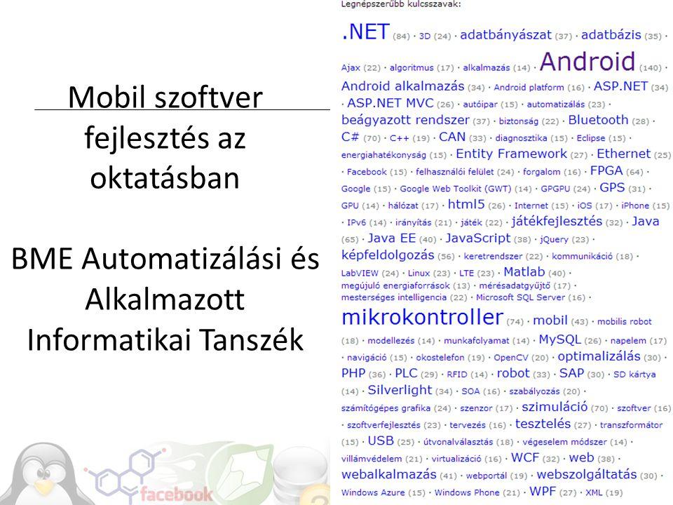 Mobil szoftver fejlesztés az oktatásban BME Automatizálási és Alkalmazott Informatikai Tanszék