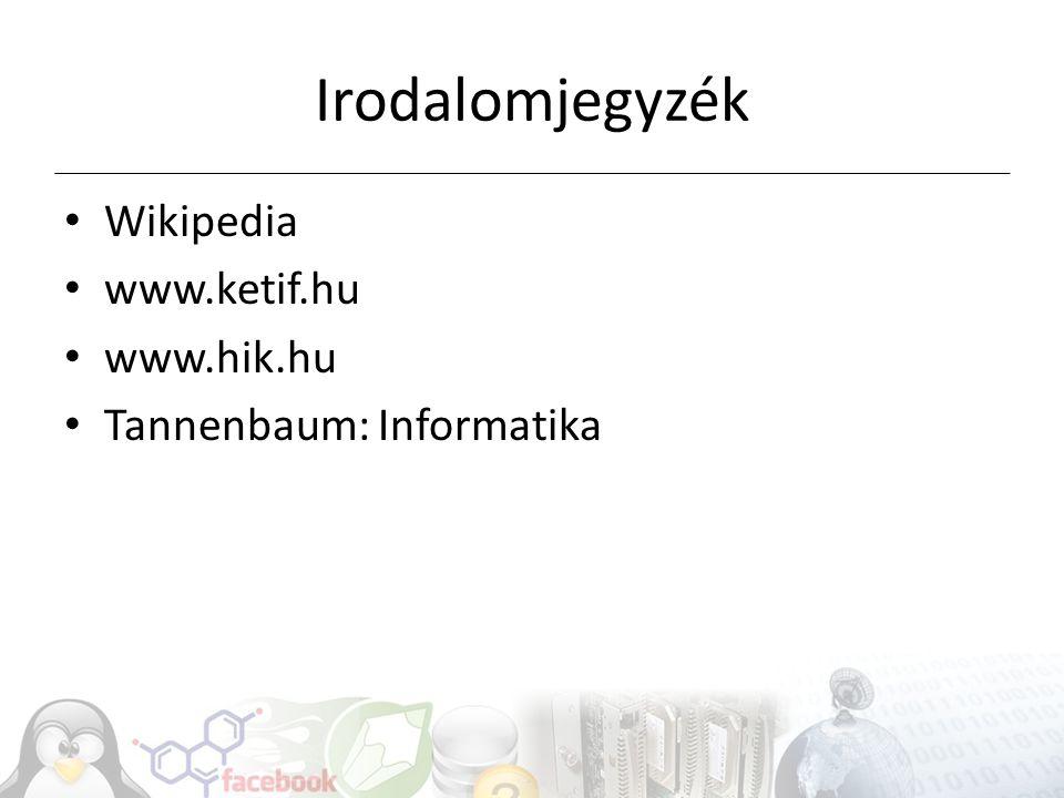 Irodalomjegyzék Wikipedia www.ketif.hu www.hik.hu