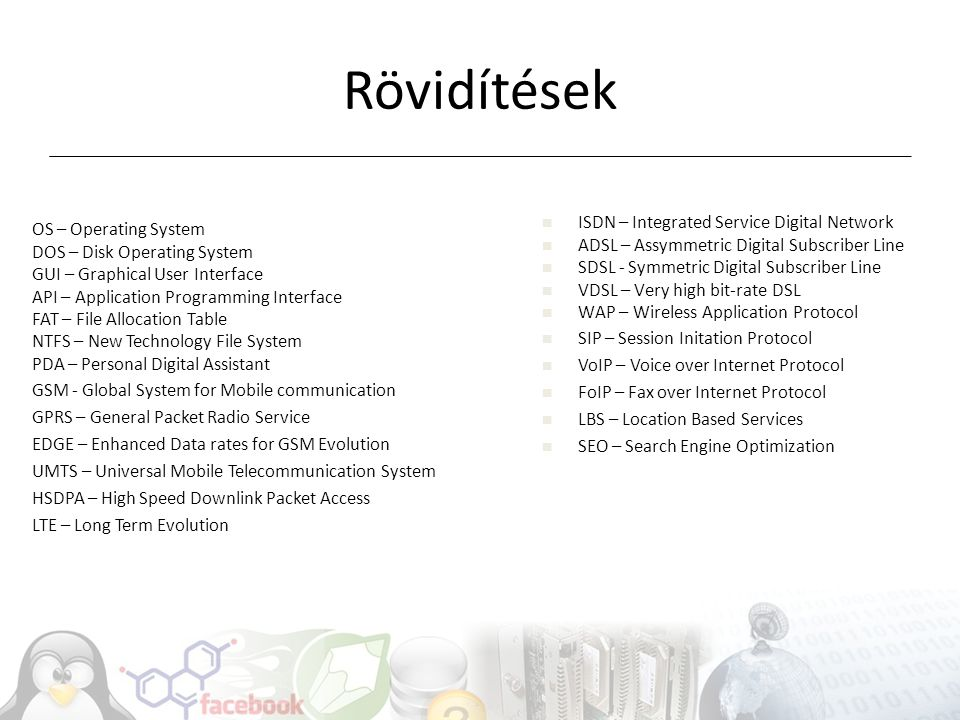 Rövidítések ISDN – Integrated Service Digital Network