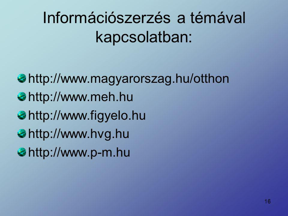 Információszerzés a témával kapcsolatban: