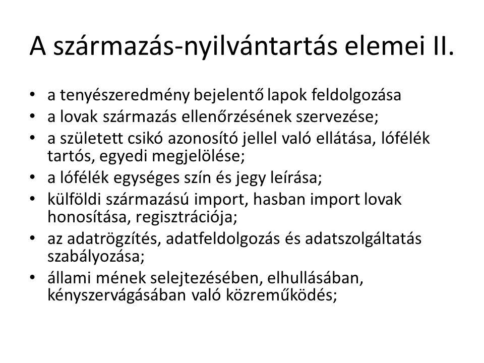 A származás-nyilvántartás elemei II.