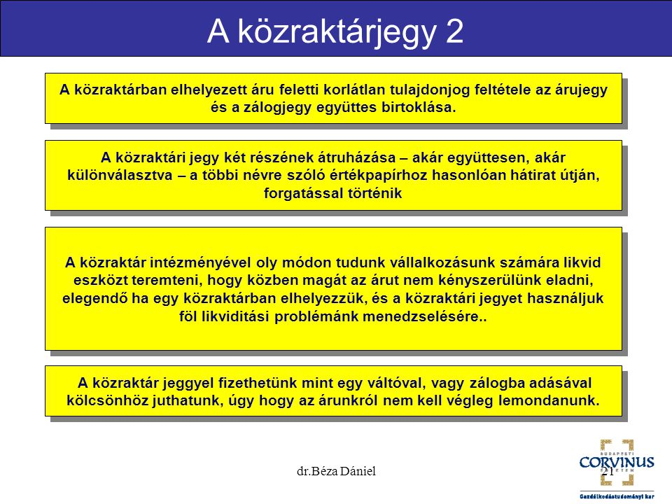 A közraktárjegy 2 A közraktárban elhelyezett áru feletti korlátlan tulajdonjog feltétele az árujegy és a zálogjegy együttes birtoklása.
