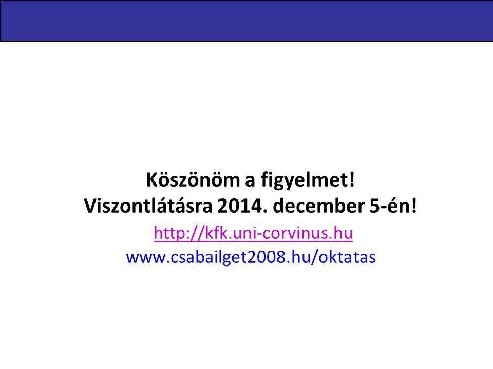 Levelezőképzés 2014.11.29. Köszönöm a figyelmet! Viszontlátásra 2014. december 5-én! http://kfk.uni-corvinus.hu www.csabailget2008.hu/oktatas.