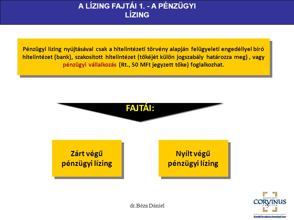 FAJTÁI: Zárt végű pénzügyi lízing Nyílt végű pénzügyi lízing