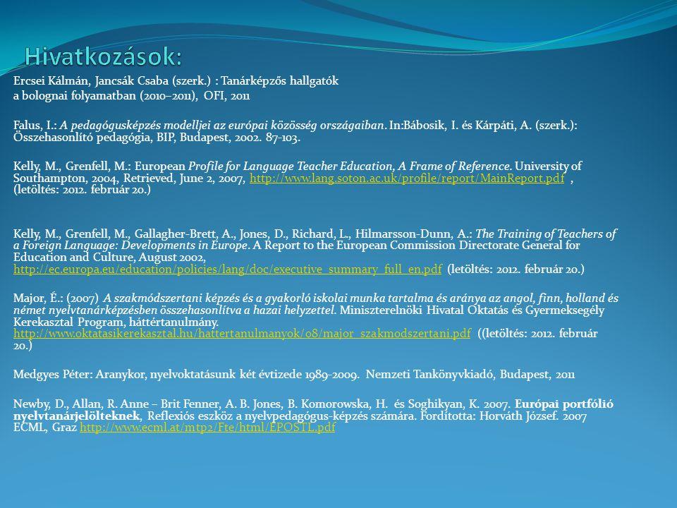 Hivatkozások: Ercsei Kálmán, Jancsák Csaba (szerk.) : Tanárképzős hallgatók. a bolognai folyamatban (2010–2011), OFI, 2011.