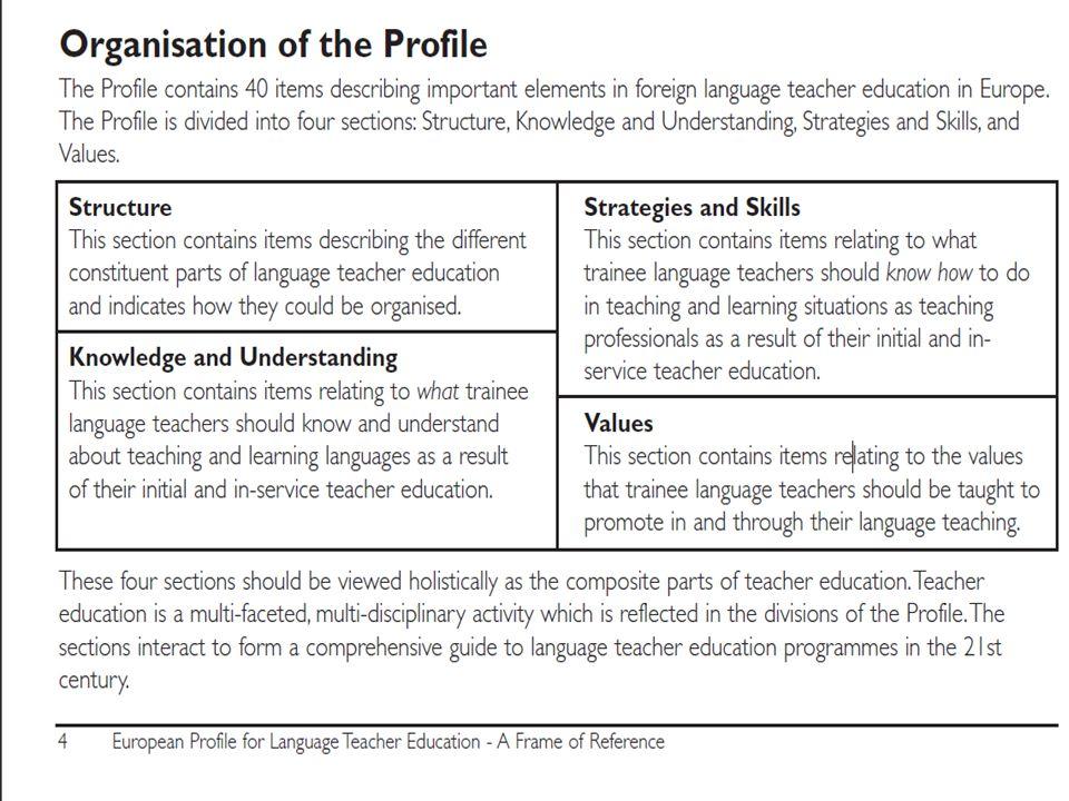 """Az európai nyelvoktatás """"referencia kerete , nem előírás gyűjtemény, hanem leíró jellegű """"listája azoknak az összetevőknek, amelyek a nyelvoktatást meghatározhatják."""